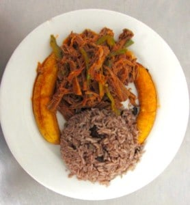 ropa vieja at plan B, a 24 hour restaurant in Havana, Cuba